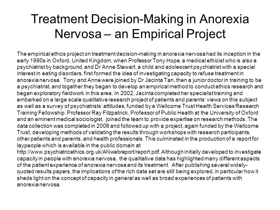 Treatment Decision-Making in Anorexia Nervosa – an Empirical Project