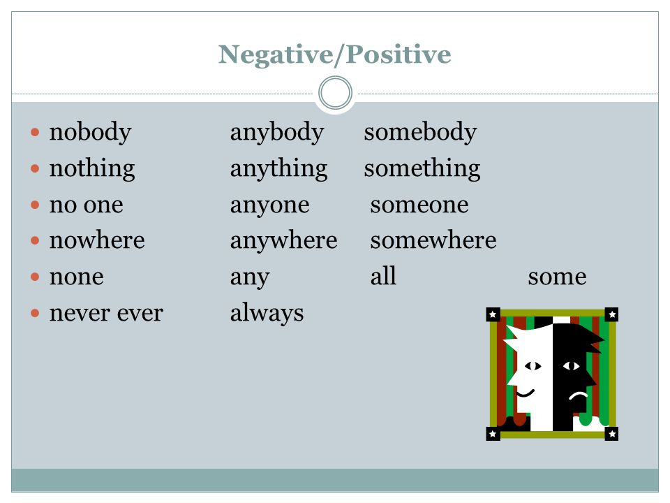 Negative/Positive nobody anybody somebody nothing anything something