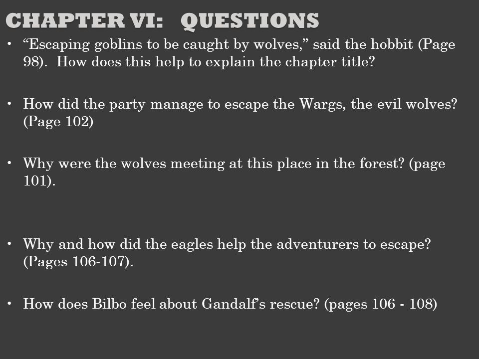 Chapter VI: Questions Escaping goblins to be caught by wolves, said the hobbit (Page 98). How does this help to explain the chapter title