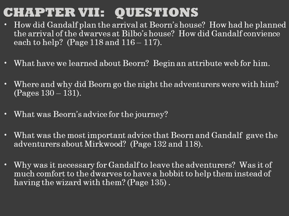 Chapter VII: Questions