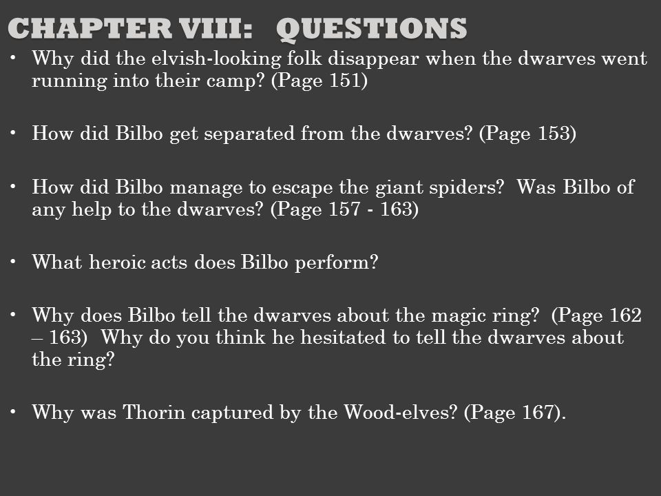 Chapter VIII: Questions