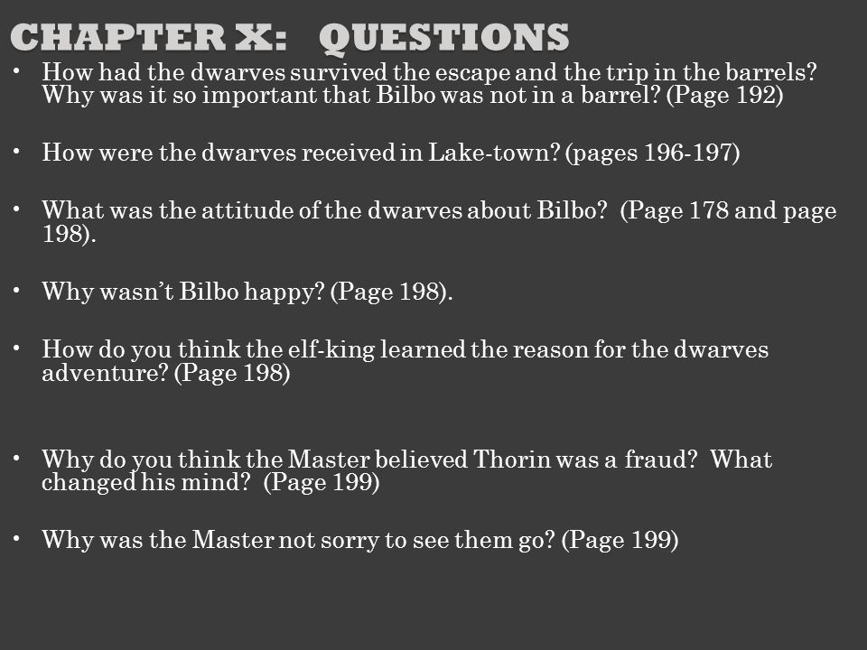 Chapter X: Questions