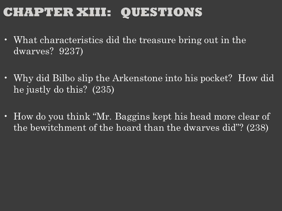 Chapter XIII: Questions