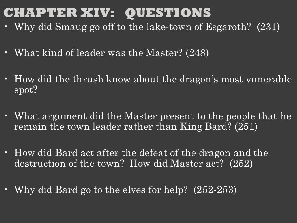 Chapter XIV: Questions
