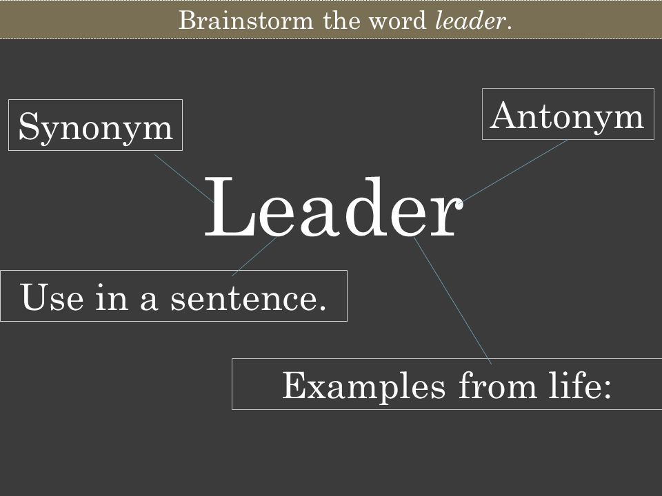 Brainstorm the word leader.