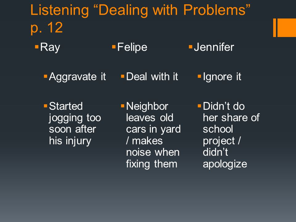 Listening Dealing with Problems p. 12
