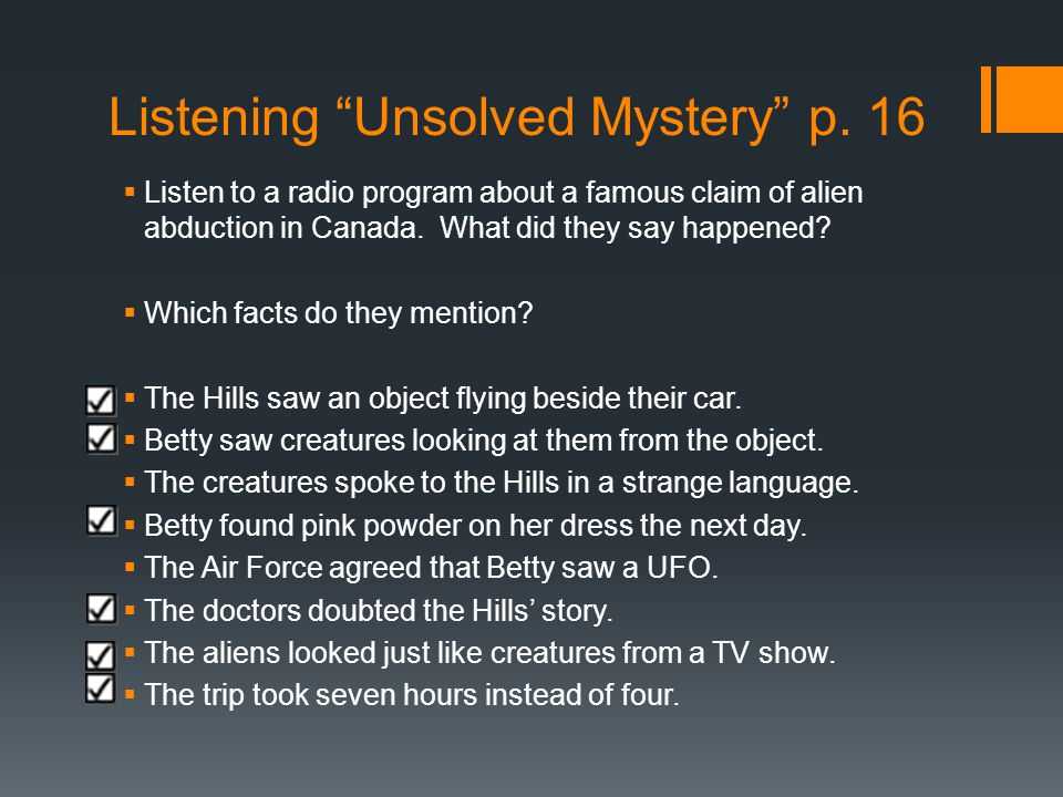 Listening Unsolved Mystery p. 16