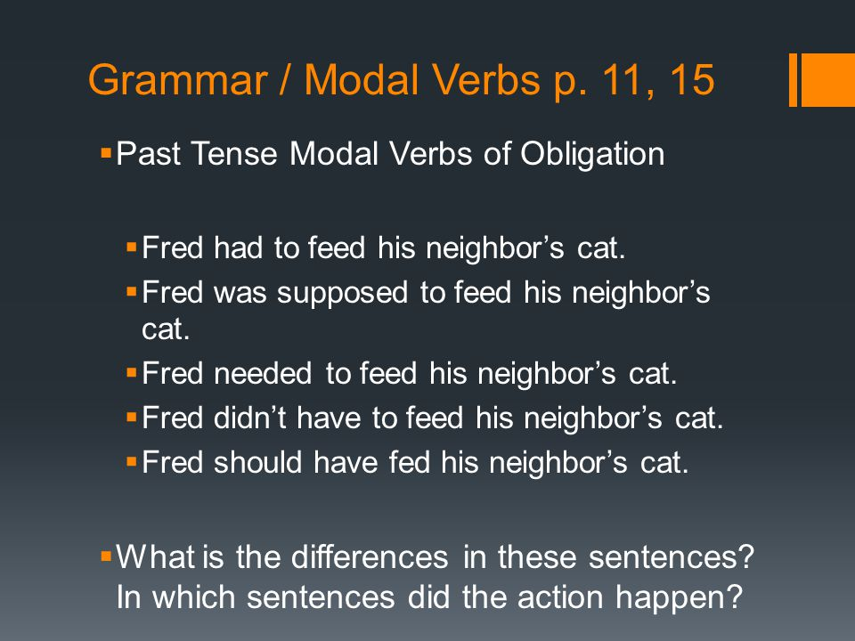 Grammar / Modal Verbs p. 11, 15 Past Tense Modal Verbs of Obligation