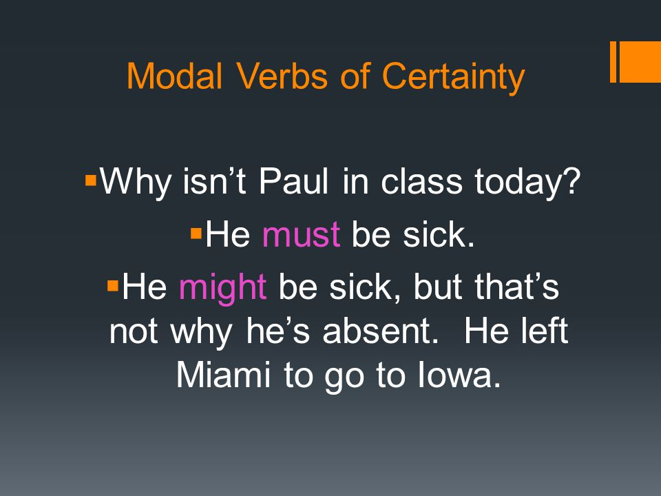 Modal Verbs of Certainty