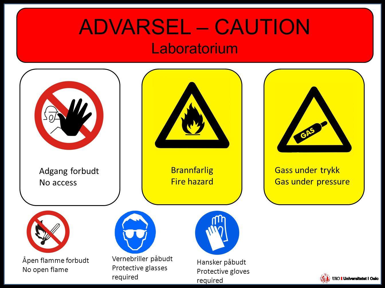 ADVARSEL – CAUTION Laboratorium Adgang forbudt No access Brannfarlig