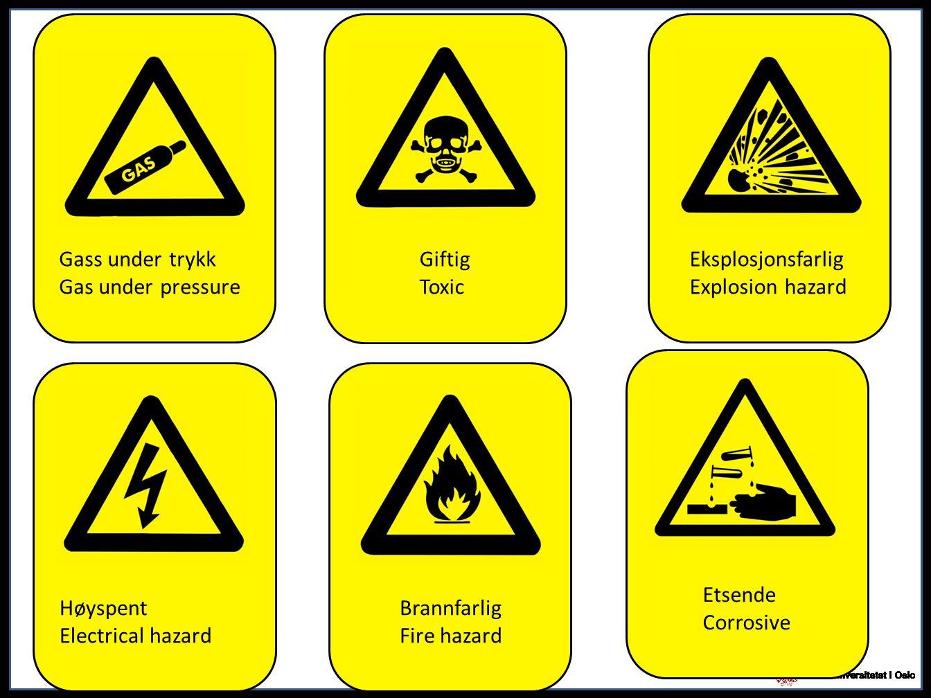 Gass under trykk Gas under pressure. Giftig. Toxic. Eksplosjonsfarlig. Explosion hazard. Etsende.