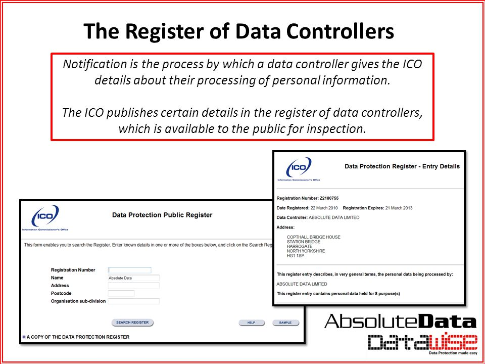 The Register of Data Controllers