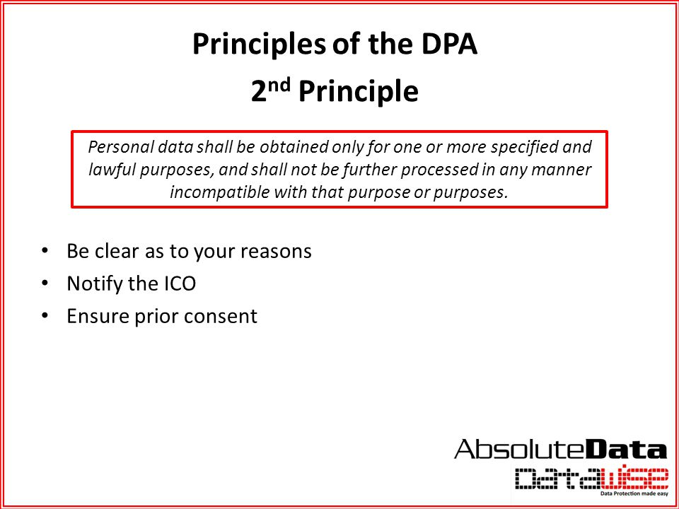 Principles of the DPA 2nd Principle