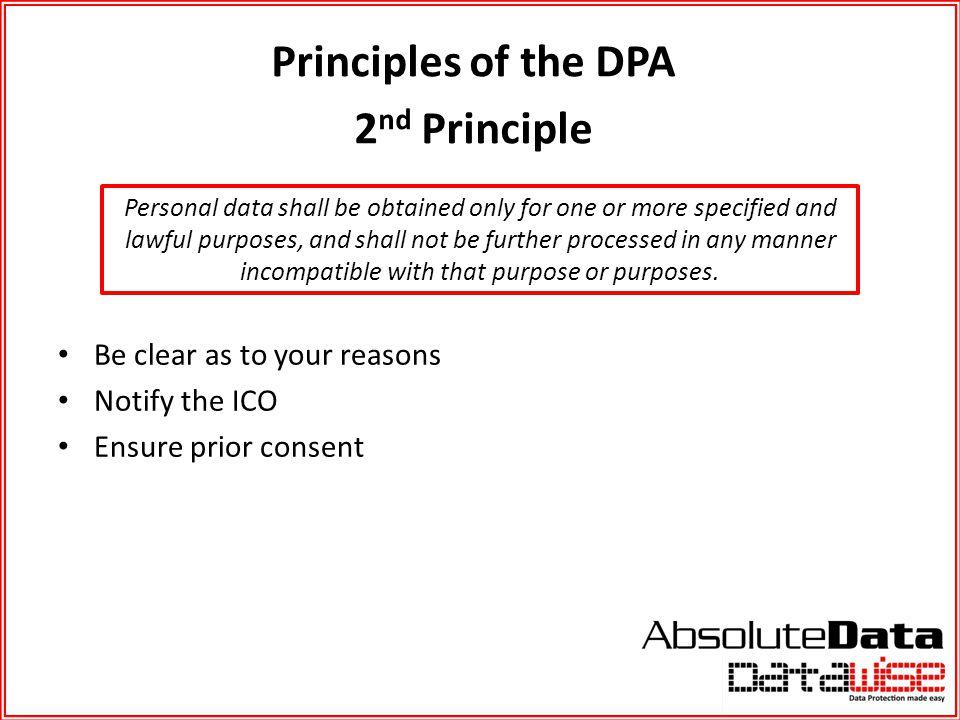 Principles of the DPA 2nd Principle