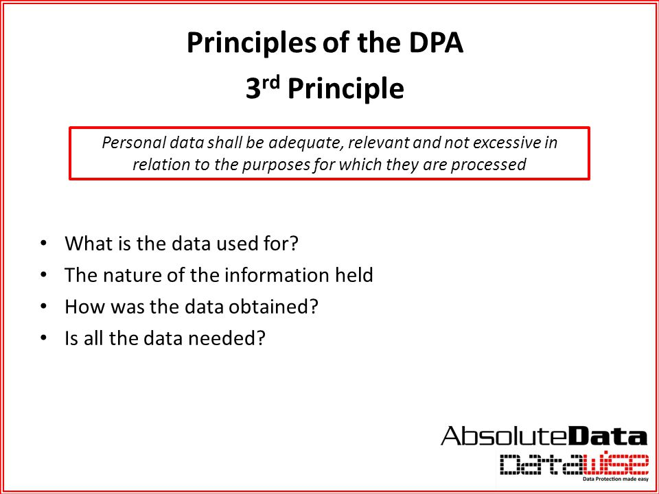 Principles of the DPA 3rd Principle