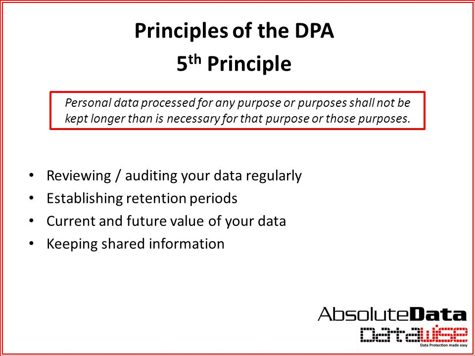 Principles of the DPA 5th Principle