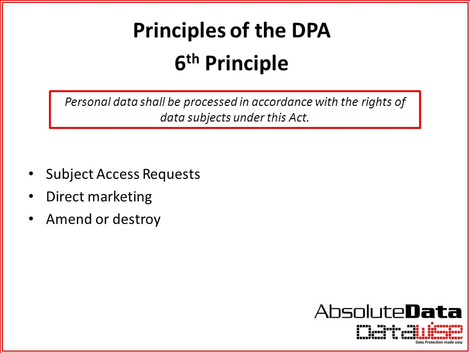 Principles of the DPA 6th Principle