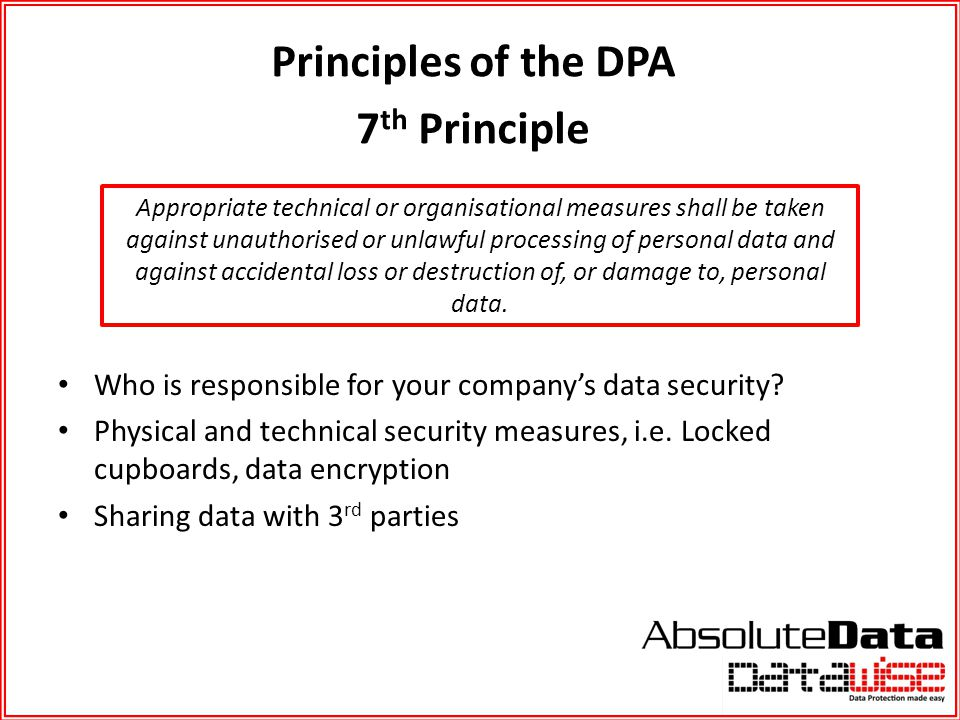 Principles of the DPA 7th Principle