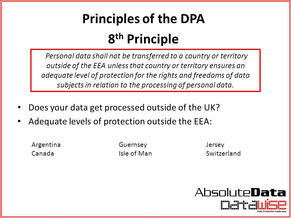 Principles of the DPA 8th Principle