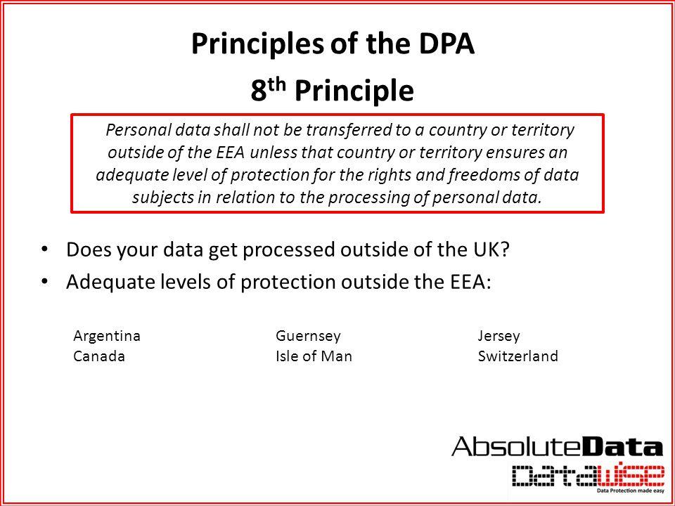 Principles of the DPA 8th Principle