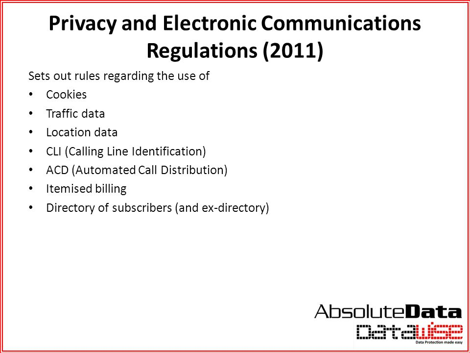 Privacy and Electronic Communications Regulations (2011)