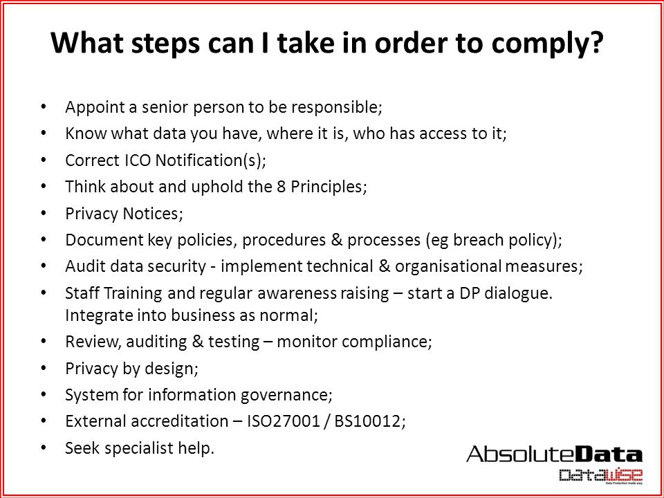 What steps can I take in order to comply