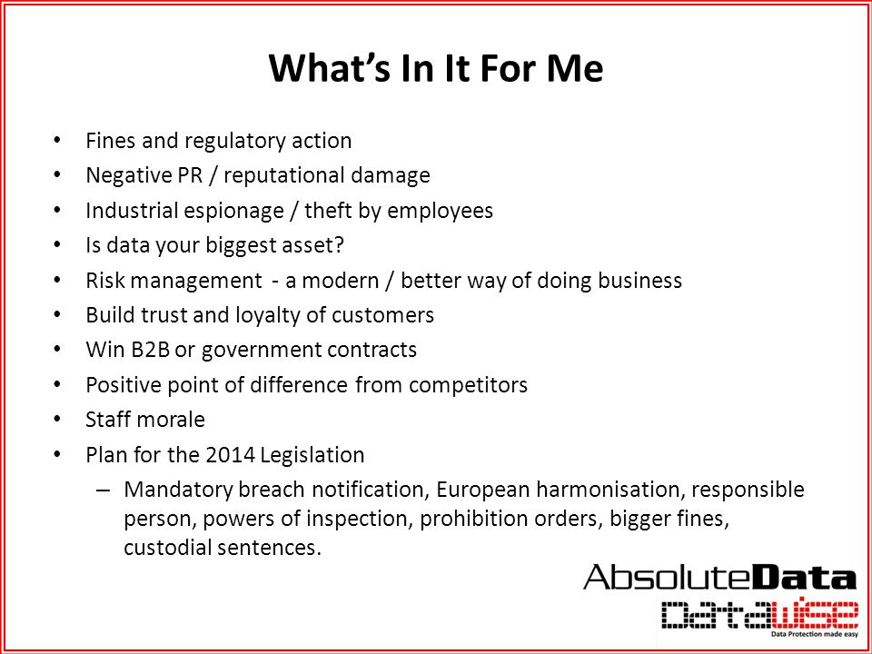 What's In It For Me Fines and regulatory action
