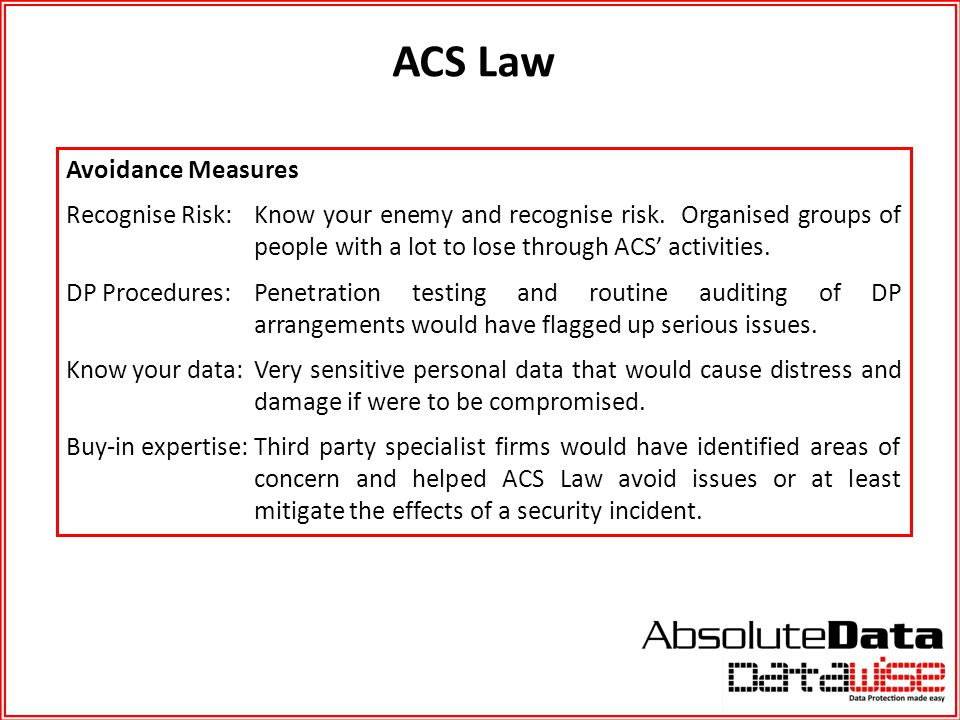 ACS Law Avoidance Measures