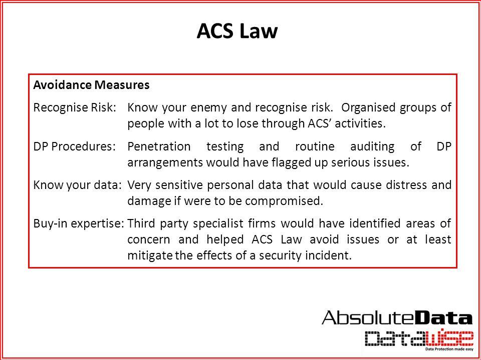 ACS Law Avoidance Measures