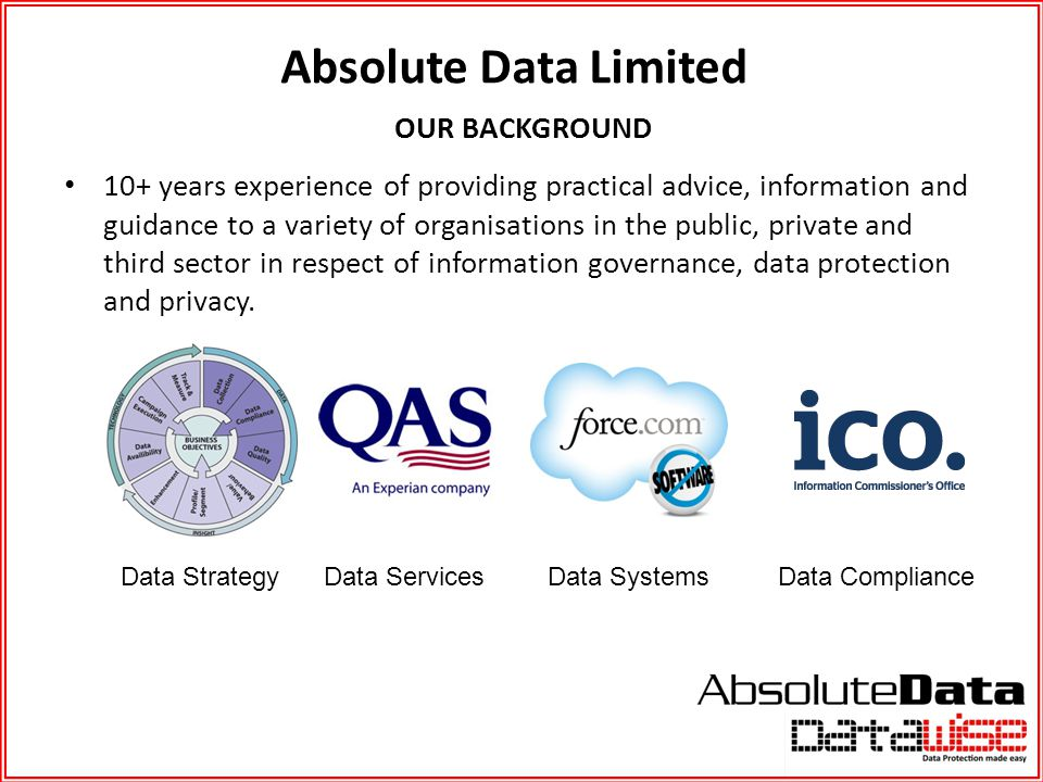 Absolute Data Limited OUR BACKGROUND