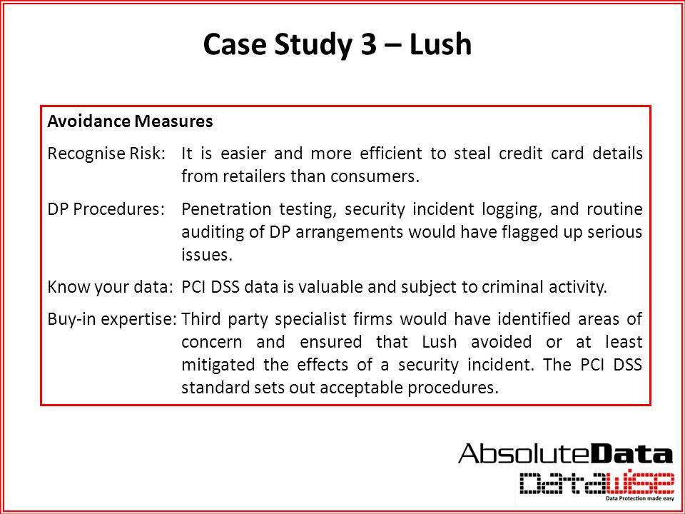 Case Study 3 – Lush Avoidance Measures