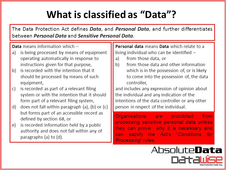 What is classified as Data