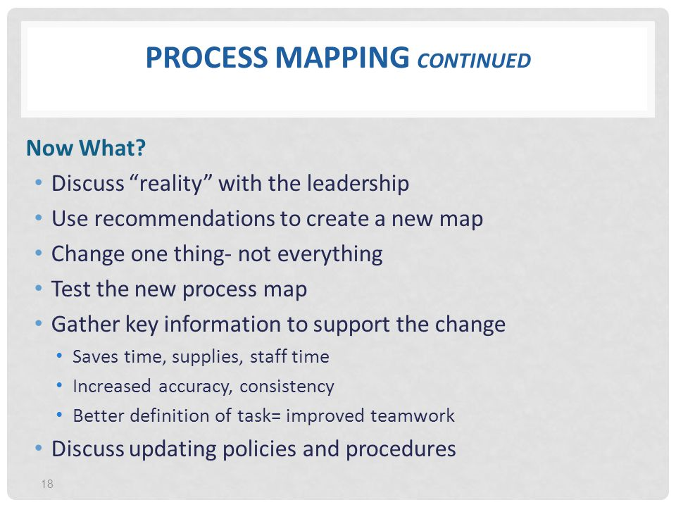 Process Mapping continued