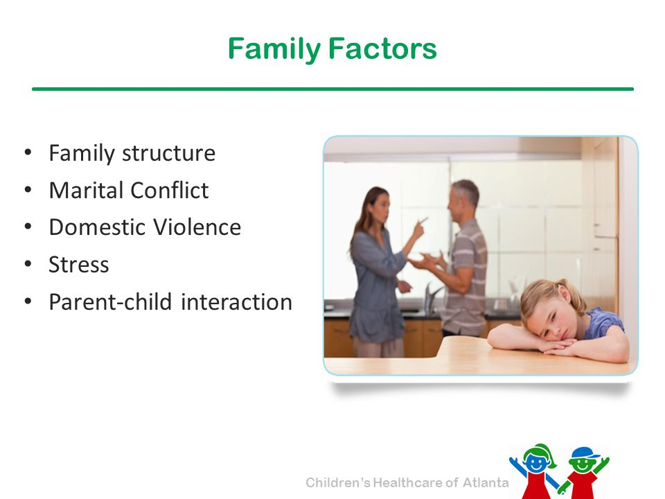 Family Factors Family structure Marital Conflict Domestic Violence