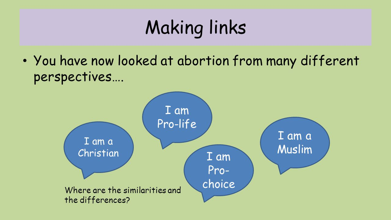 Making links You have now looked at abortion from many different perspectives…. I am Pro-life. I am a Muslim.