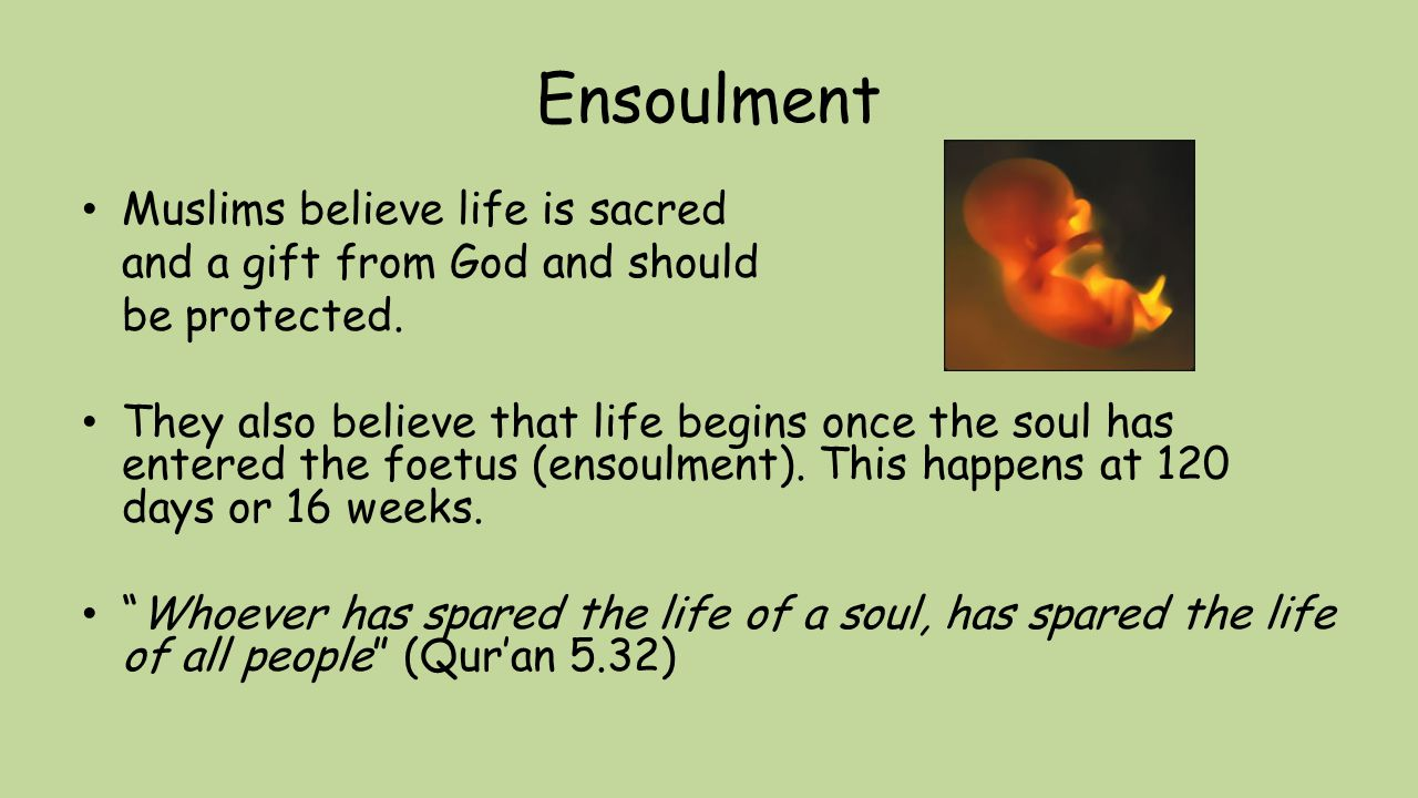 Ensoulment Muslims believe life is sacred