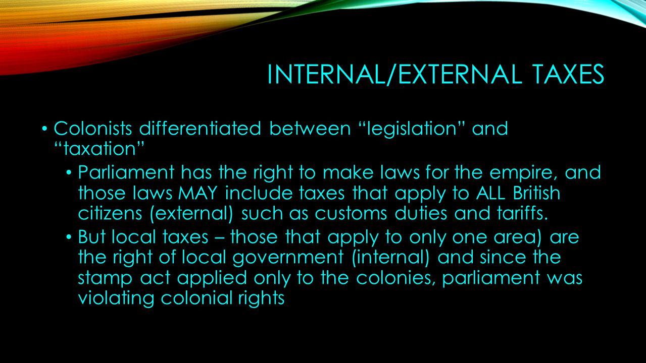 Internal/External Taxes