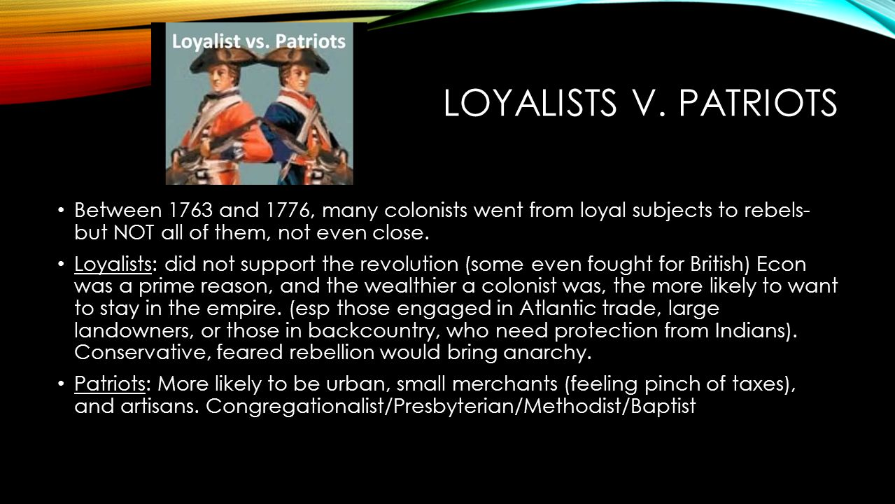 loyalists and layabouts essay
