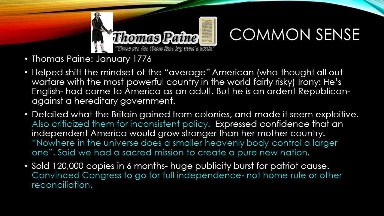 Common Sense Thomas Paine: January 1776