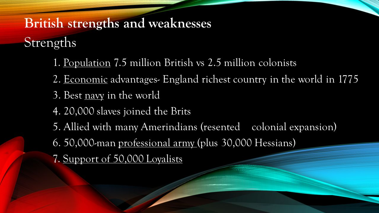 strengths and weaknesses of the british Britain would only support liberal nationalism if the new states were both constitutional and really neutral britain felt that she had to prevent the dismemberment of turkey to stop others attempting it the sultans had a regular policy of capitalising on their weakness and turning them into strengths.