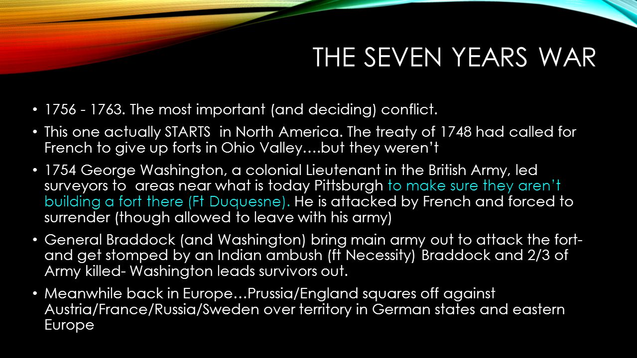 The Seven Years War 1756 - 1763. The most important (and deciding) conflict.