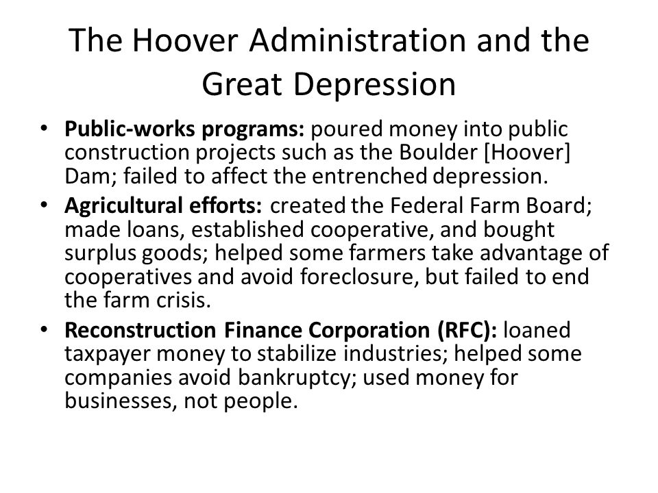 The Hoover Administration and the Great Depression