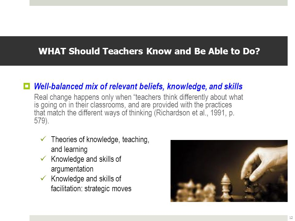 WHAT Should Teachers Know and Be Able to Do