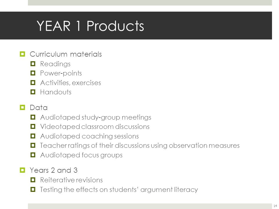 YEAR 1 Products Curriculum materials Data Years 2 and 3 Readings