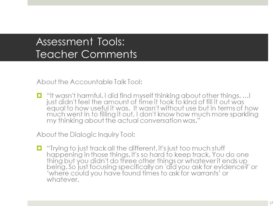 Assessment Tools: Teacher Comments