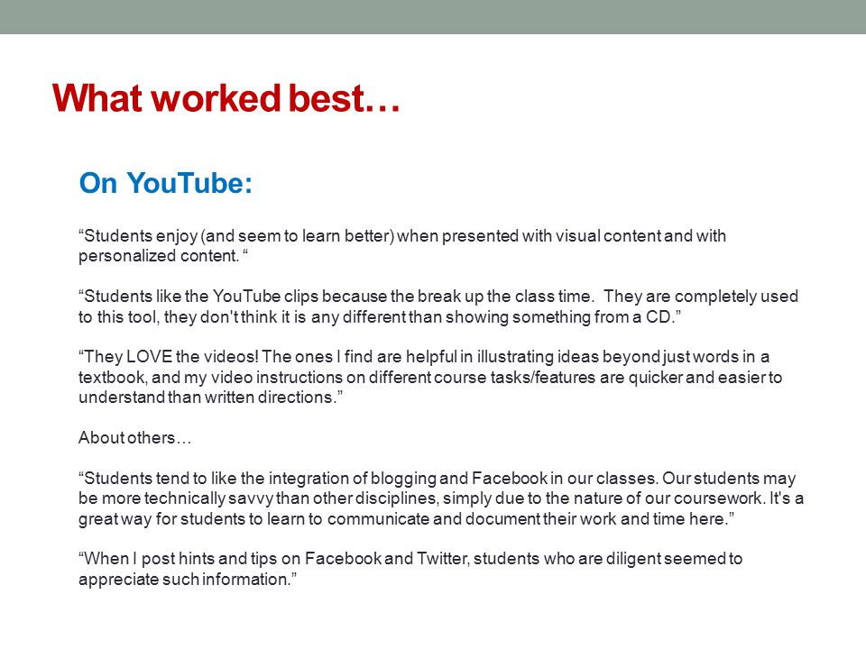 What worked best… On YouTube: