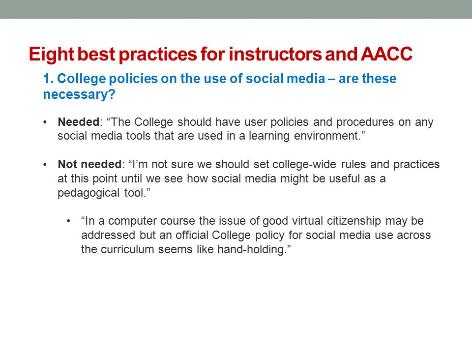 Eight best practices for instructors and AACC