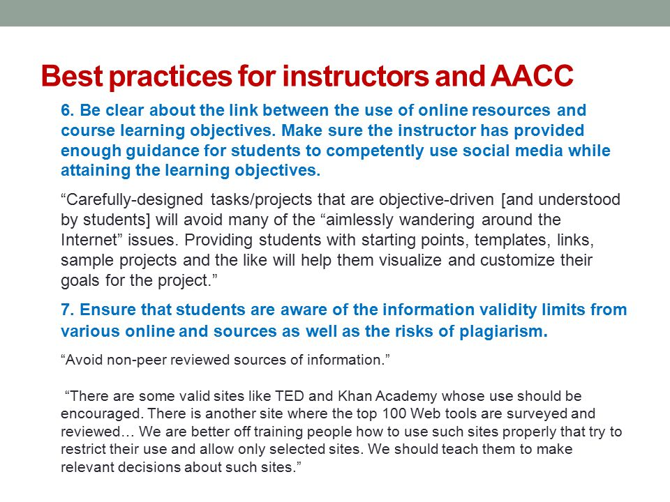 Best practices for instructors and AACC