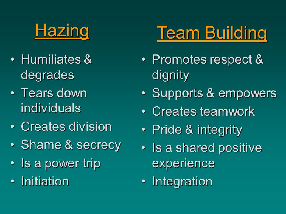 Hazing Team Building Humiliates & degrades Tears down individuals