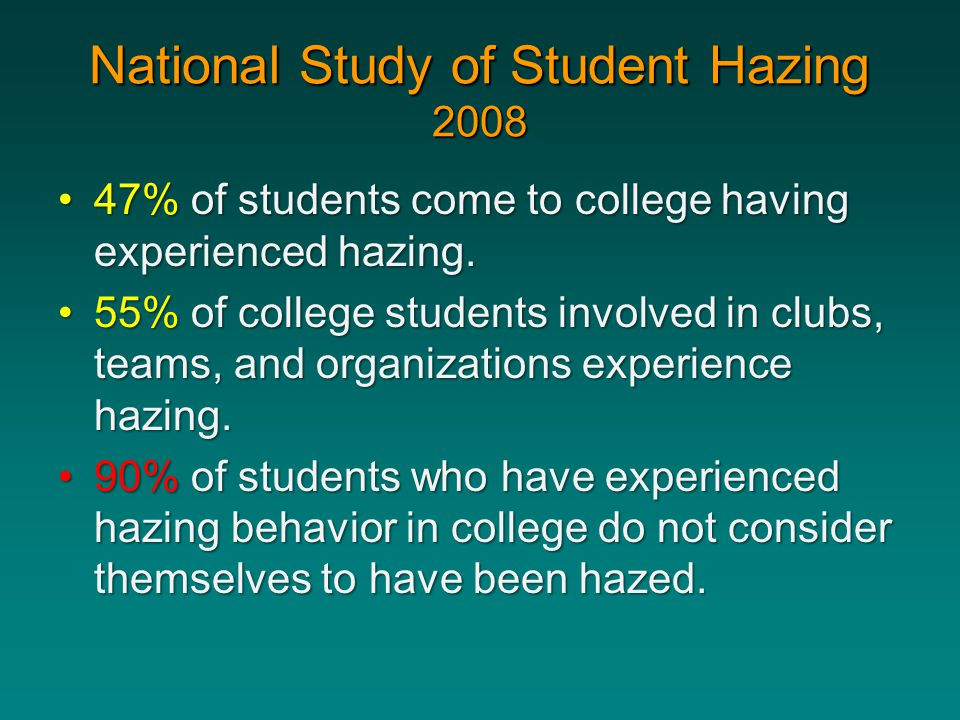 National Study of Student Hazing 2008